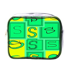 Letter Huruf S Sign Green Yellow Mini Toiletries Bags by Mariart