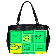 Letter Huruf S Sign Green Yellow Office Handbags (2 Sides)  by Mariart