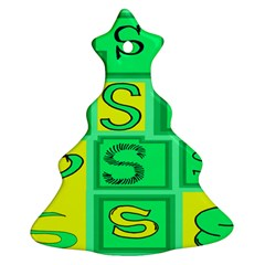 Letter Huruf S Sign Green Yellow Ornament (christmas Tree)