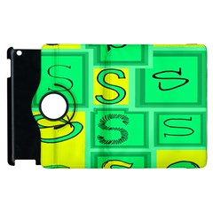 Letter Huruf S Sign Green Yellow Apple Ipad 2 Flip 360 Case by Mariart