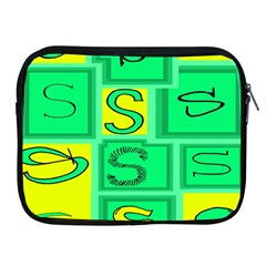 Letter Huruf S Sign Green Yellow Apple Ipad 2/3/4 Zipper Cases by Mariart