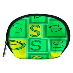 Letter Huruf S Sign Green Yellow Accessory Pouches (medium)