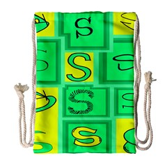 Letter Huruf S Sign Green Yellow Drawstring Bag (large) by Mariart