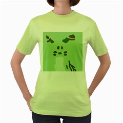Lineless Background For Minty Wildlife Monster Women s Green T Shirt by Mariart