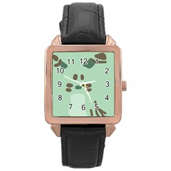 Lineless Background For Minty Wildlife Monster Rose Gold Leather Watch  by Mariart