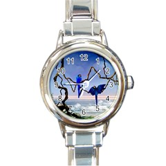 Wonderful Blue  Parrot Looking To The Ocean Round Italian Charm Watch by FantasyWorld7