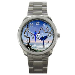 Wonderful Blue  Parrot Looking To The Ocean Sport Metal Watch by FantasyWorld7