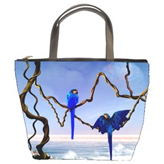 Wonderful Blue  Parrot Looking To The Ocean Bucket Bags by FantasyWorld7