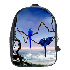 Wonderful Blue  Parrot Looking To The Ocean School Bag (large) by FantasyWorld7