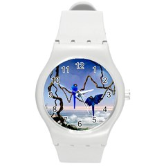 Wonderful Blue  Parrot Looking To The Ocean Round Plastic Sport Watch (m) by FantasyWorld7