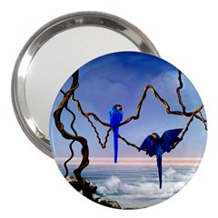 Wonderful Blue  Parrot Looking To The Ocean 3  Handbag Mirrors by FantasyWorld7