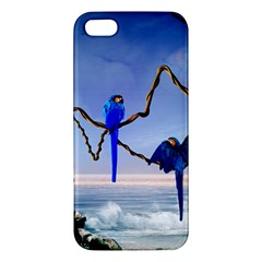 Wonderful Blue  Parrot Looking To The Ocean Apple Iphone 5 Premium Hardshell Case by FantasyWorld7