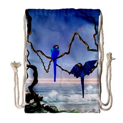 Wonderful Blue  Parrot Looking To The Ocean Drawstring Bag (large) by FantasyWorld7