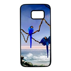 Wonderful Blue  Parrot Looking To The Ocean Samsung Galaxy S7 Black Seamless Case by FantasyWorld7