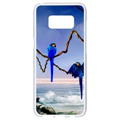 Wonderful Blue  Parrot Looking To The Ocean Samsung Galaxy S8 White Seamless Case by FantasyWorld7
