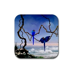 Wonderful Blue  Parrot Looking To The Ocean Rubber Square Coaster (4 Pack)  by FantasyWorld7