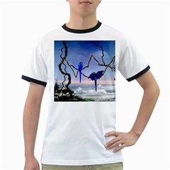 Wonderful Blue  Parrot Looking To The Ocean Ringer T Shirts by FantasyWorld7