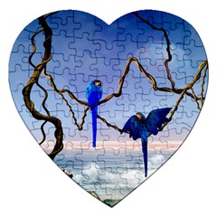 Wonderful Blue  Parrot Looking To The Ocean Jigsaw Puzzle (heart) by FantasyWorld7