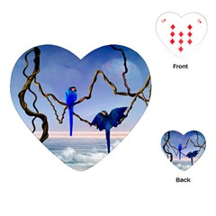 Wonderful Blue  Parrot Looking To The Ocean Playing Cards (heart)  by FantasyWorld7