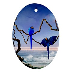 Wonderful Blue  Parrot Looking To The Ocean Oval Ornament (two Sides) by FantasyWorld7
