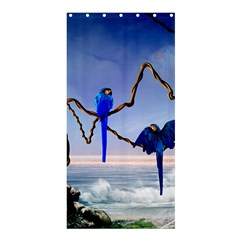 Wonderful Blue  Parrot Looking To The Ocean Shower Curtain 36  X 72  (stall)  by FantasyWorld7