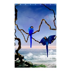 Wonderful Blue  Parrot Looking To The Ocean Shower Curtain 48  X 72  (small)  by FantasyWorld7
