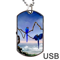 Wonderful Blue  Parrot Looking To The Ocean Dog Tag Usb Flash (two Sides) by FantasyWorld7