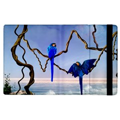 Wonderful Blue  Parrot Looking To The Ocean Apple Ipad 3/4 Flip Case by FantasyWorld7
