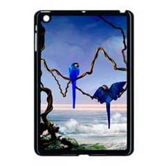 Wonderful Blue  Parrot Looking To The Ocean Apple Ipad Mini Case (black) by FantasyWorld7