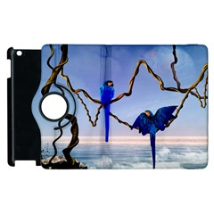 Wonderful Blue  Parrot Looking To The Ocean Apple Ipad 3/4 Flip 360 Case by FantasyWorld7