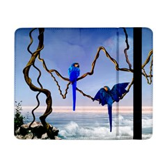 Wonderful Blue  Parrot Looking To The Ocean Samsung Galaxy Tab Pro 8 4  Flip Case by FantasyWorld7
