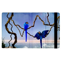 Wonderful Blue  Parrot Looking To The Ocean Apple Ipad Pro 9 7   Flip Case by FantasyWorld7