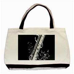 Line Light Leaf Flower Floral Black White Beauty Polka Basic Tote Bag (two Sides) by Mariart