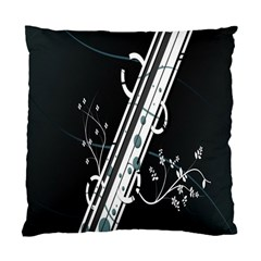 Line Light Leaf Flower Floral Black White Beauty Polka Standard Cushion Case (two Sides) by Mariart