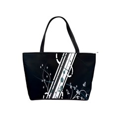 Line Light Leaf Flower Floral Black White Beauty Polka Shoulder Handbags by Mariart