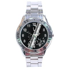 Line Light Leaf Flower Floral Black White Beauty Polka Stainless Steel Analogue Watch by Mariart