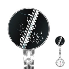 Line Light Leaf Flower Floral Black White Beauty Polka Stainless Steel Nurses Watch by Mariart
