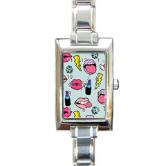 Lipstick Lips Heart Valentine Star Lightning Beauty Sexy Rectangle Italian Charm Watch by Mariart