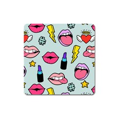 Lipstick Lips Heart Valentine Star Lightning Beauty Sexy Square Magnet by Mariart
