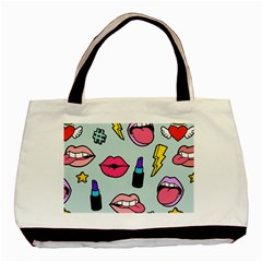 Lipstick Lips Heart Valentine Star Lightning Beauty Sexy Basic Tote Bag by Mariart