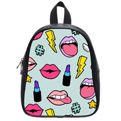 Lipstick Lips Heart Valentine Star Lightning Beauty Sexy School Bag (small) by Mariart