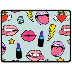 Lipstick Lips Heart Valentine Star Lightning Beauty Sexy Fleece Blanket (large)  by Mariart