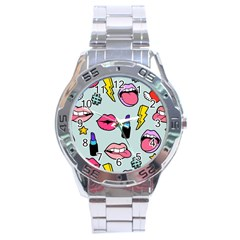 Lipstick Lips Heart Valentine Star Lightning Beauty Sexy Stainless Steel Analogue Watch by Mariart
