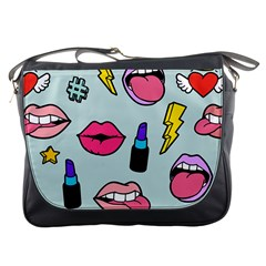 Lipstick Lips Heart Valentine Star Lightning Beauty Sexy Messenger Bags by Mariart