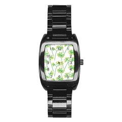 Marimekko Fabric Flower Floral Leaf Stainless Steel Barrel Watch by Mariart