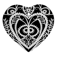 Paper Cut Butterflies Black White Ornament (heart) by Mariart