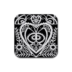 Paper Cut Butterflies Black White Rubber Coaster (square)  by Mariart