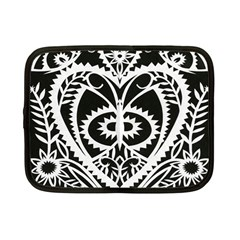 Paper Cut Butterflies Black White Netbook Case (small)  by Mariart