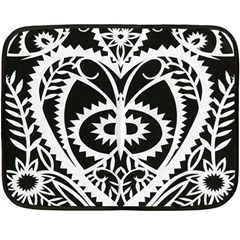 Paper Cut Butterflies Black White Fleece Blanket (mini)