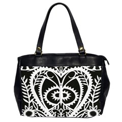 Paper Cut Butterflies Black White Office Handbags (2 Sides)  by Mariart